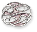 Sterling Silver Rennie Mackintosh style oval Brooch with lilac enamel - SIZE: 24mm x 20mm 9102