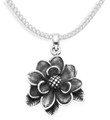 Sterling Silver solid, heavyweight Lotus flower oxidised Pendant - weighs over 6gms - SIZE: 24mm x 25mm. Excludes chain 8065