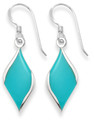 Sterling Silver Diamond shape earrings, silver back & two side - SIZE: 20mm x 9mm - reconstituted Turquoise 7922TQ