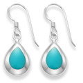 Sterling Silver Turquoise Teardrop earrings, silver back & wide frame - SIZE: 11mm x 9mm - reconstituted Turquoise 7903TQ