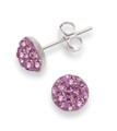 Sterling Silver, Purple Crystal half ball stud 6mm, many tiny crystals - 4602PP