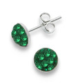 Sterling Silver, Emerald Crystal half ball stud 6mm, many tiny crystals - 4602EM