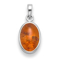 Sterling Silver Amber Oval Pendant - size 10mm x 13mm 8231AMB
