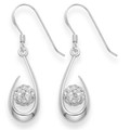 Sterling Silver Open Teardrops with 6mm disco ball - Clear colour - size: 19mm x 9mm 4708CL - Matches 4808 Pendant