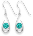 Sterling Silver Open Teardrops with 6mm Turquoise Crystal disco ball - size: 19mm x 9mm 4708TQ - Matches 4808 Pendant