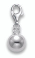 Sterling Silver Jingle ball bell clip-on charm - size: 8mm (excluding catch) - weight 0.9gms. 8925TR