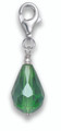 Sterling Silver Faceted Green Peardrop Clip-on Charm - SIZE: 8mm x 14mm plus catch 8905GRN