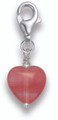 Sterling Silver Cherry Quartz Heart Clip-on Charm - SIZE: 9mm x 10mm plus catch 8943CQ