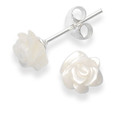 Sterling Silver Mother of Pearl Rose stud - size: 8mm 4649MOP