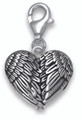 Sterling Silver Angel Wings heart shaped clip-on Charm- Size: 15mm X 13mm + fittings - weight: 2gms. 8917TR