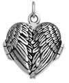 Sterling Silver Angel Wings heart shaped opening Locket - Size: 19mm x 17mm (23mm with ring) - lovely weight and quality 8017