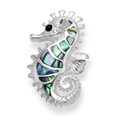 Sterling Silver Paua Shell Seahorse Pendant 15mm x 24mm max.8600PS