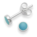 Sterling Silver round reconstituted Turquoise stud earrings - SIZE:  4mm 5554TQ