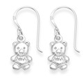 Solid Sterling Silver Teddy Bear drop earrings 1.9gms - Size: 10mm x 7mm 6129