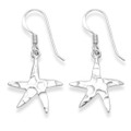 Sterling Silver Planished finish Starfish drop earrings - Size: 17mm x 16mm 6167
