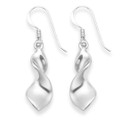 Sterling Silver Solid twist shape drop - Solid 3.6gms - 20mm x 8mm. High polished 6185