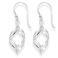Sterling Silver Two twisted Ovals drop earrings - Size: 17mm x 9mm 6486