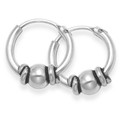 Sterling Silver Small Bali Hoop earrings, ball & wires - Size 9.5mm diameter 6201