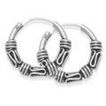 Sterling Silver Small Bali Hoop earrings, 7 x twist wires - Size: 13mm diameter 6205