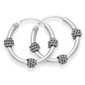 Sterling Silver Small Bali Hoop earrings, 3 x twist wires - Size 15mm diameter 6202