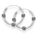 Sterling Silver Bali Hoop earrings, 3 x twist wires - Size: 15mm 6207