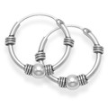 Sterling Silver Bali Hoop earrings, Ball & 4 wires - Size: 15mm 6208