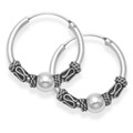 Sterling Silver Medium Bali Hoop earrings, Ball & twist wires - Size: 19mm 6210