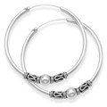 Sterling Silver Large Bali Hoop earrings, Ball & twist wires - Size: 35mm  6215