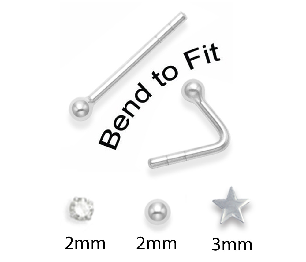 b5e82091d 3 Sterling Silver Nose studs - SINGLE STUD x 2mm Ball Stud, 2mm ...