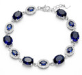 "Sterling Silver Saphire & clear Cubic Zirconia Oval stones Bracelet - 7.5"" 3525DB ONLY A FEW REMAINING"