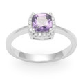 Sterling Silver Purple square & tiny clear Cubic Zirconias Ring - SIZE:  8mm 2226PP Only 3 Remaining