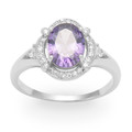 Sterling Silver Purple Oval & tiny clear Cubic Zirconias Ring - SIZE: 12 x 14mm 2227PP