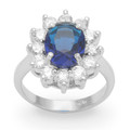 Sterling Silver Kate Middleton style Sapphire & Clear Cubic Zirconia Ring - 17mm x 15mm2228DB Only Size 53  Remaining