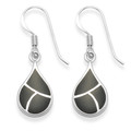Sterling Silver Teardrop earrings inlaid with Onyx, silver back - SIZE: 9mm x 15mm 7928ON