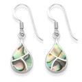 Sterling Silver Teardrop earrings inlaid with Paua, silver back - SIZE: 9mm x 15mm7928PS
