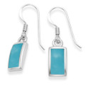 Sterling Silver Rectangular Turquoise drop Earrings with silver back & frame - SIZE:   11mm x 6mm 7915TQ
