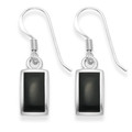 Sterling Silver Rectangular Onyx drop with silver back & frame - SIZE: 11mm x 6mm7915ON