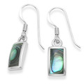Sterling Silver Rectangular Paua Shell drop Earrings with silver back & frame 11mm x 6m7915PS