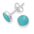 Sterling Silver Turquoise stud Earrings with silver back - Size:  7mm 5798TQ