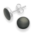 Sterling Silver Onyx stud Earrings with silver back - Size: 8mm 5778ON