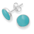 Sterling Silver Turquoise stud Earrings with silver back - Size: 8mm 5778TQ