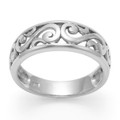 Sterling Silver Swirls Ring - 7mm wide in centre - weight: 3.4gms. 1255