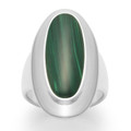 Sterling Silver Ring with wide band, Oval Malacite stone and large silver surround - Size: 30mm x 15mm 2172MAL