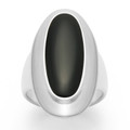 Sterling Silver Onyx Ring with wide band, Oval stone and large silver surround - Size: 30mm x 15mm 2172ON