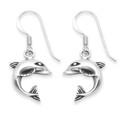 Solid Sterling Silver Dolphin drop earrings - premium quality weight: 3.5gms - SIZE: 12mm 6126