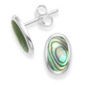Sterling Silver Paua Shell studs with silver back - SIZE: 10mm x 6mm 5622PS