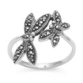 Sterling Silver Butterfly ring - two Butterflies Marcasite Ring - Size: 18mm at widest part 2205 Further Reduction