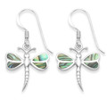Sterling Silver Inlaid Paua Shell Dragonfly drop Earrings - Size: 16mm x 16mm 7341PS