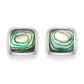 Sterling Silver Square Paua Shell studs with silver back - Size 10mm 5811PS