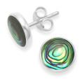 Sterling Silver Round Paua shell studs, silver back - Size 10mm 781PS
